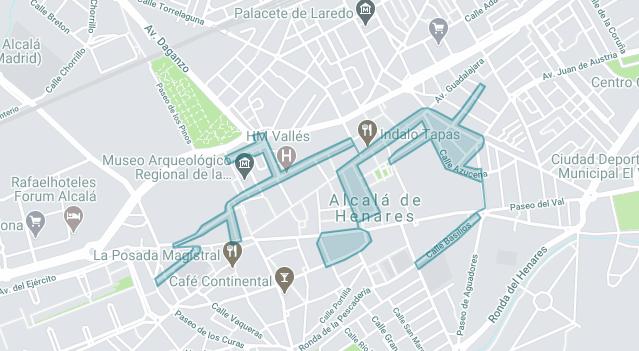 Mapa de la zona azul de Alcalá de Henares